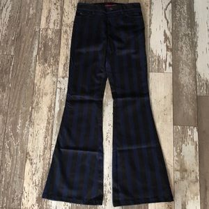 Alice and Olivia Striped Bell Bottom Jeans